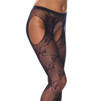 Picture of Crotchless Black Fishnet Lace Detail Tights