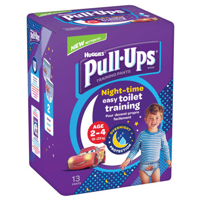 Picture of Huggies Pull Ups Blue Training Pants Age 2-4 Night Time 13 Pack