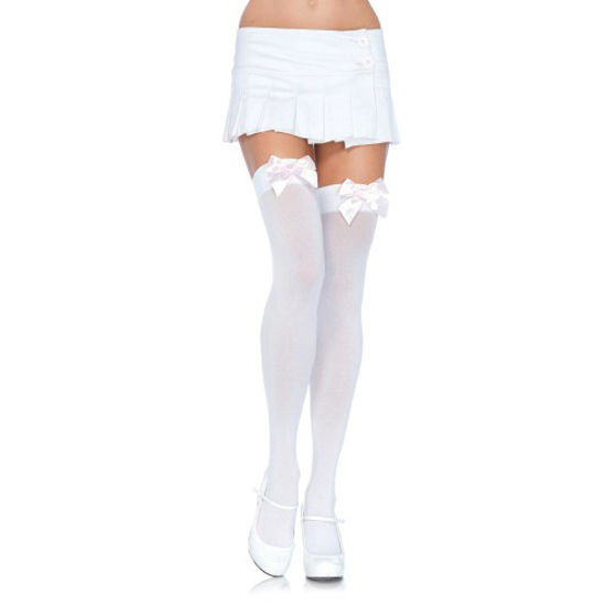 Picture of Leg Avenue Nylon Thigh Highs with Bow-Black