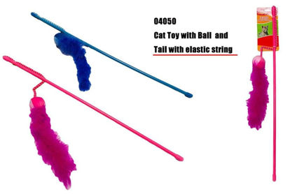 Picture of Cat Play Toy With Ball and Tail with Elastic String - Colours May Vary