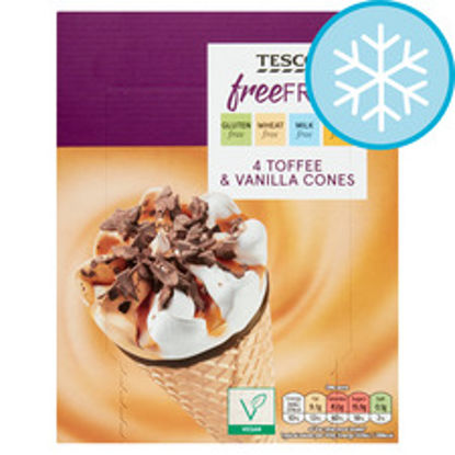 Picture of Tesco Free From Toffee & Vanilla Cones 4X110ml