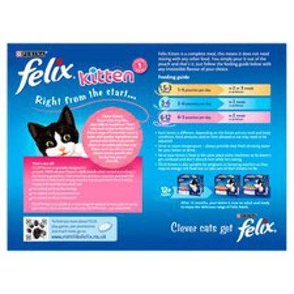 Picture of Felix Kitten Fish and Meat Selection 12 x 100 g (Pack of 4, Total 48 Pouches)