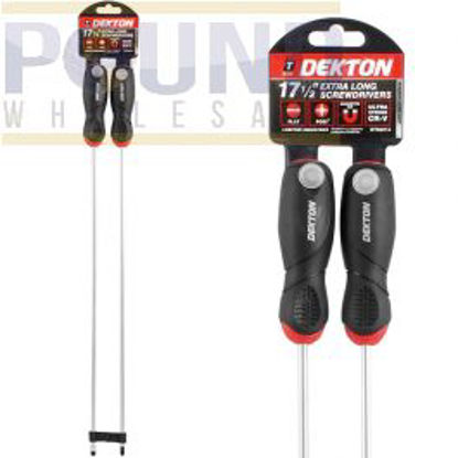 Picture of 2pc Flat Head, PZ2 Extra Long Screwdriver 450mm with Magnetic Tip