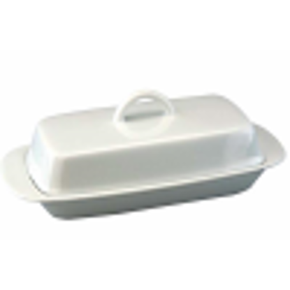 Picture of Vinci White Porcelain Traditional Butter Dish with Lid