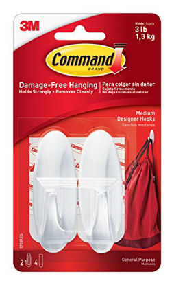 Picture of 2x Command Medium Hooks with 4x Command Strips (17081)-white