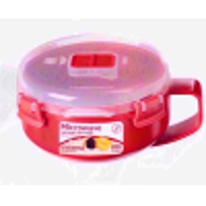 Picture of Sistema Microwave Breakfast Bowl - 850 ml, Red/Clear