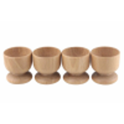 Picture of Apollo Housewares 24 x 5.5 cm Wood Beech 4-Egg Cup Set, Natural Wood