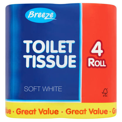 Picture of Breeze Toilet Tissue Soft White 4 Roll