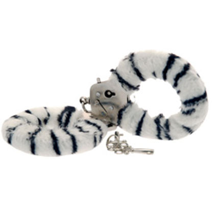 Picture of Toy Joy Furry Fun Hand Cuffs Zebra Plush