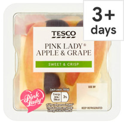 Picture of Tesco Pink Lady Apple And Grape Snack Pot 100G