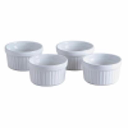 Picture of 6 x White Round Ceramic Ramekin Dish - 9cm - Dishwasher Freezer Microwave Safe