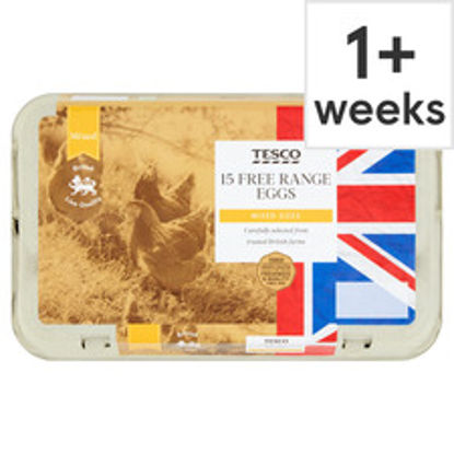 Picture of Tesco Mixed Sized Free Range Eggs 15 Pack
