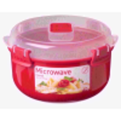 Picture of Sistema Microwave Round Container - 915 ml, Red/Clear