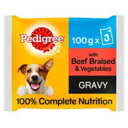 Picture of Pedigree Pouches Beef Vegetable In Gravy Dog Food 3X100g