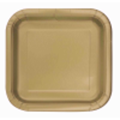 Picture of 18cm Square Gold Party Plates, Pack of 16