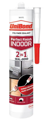 Picture of UniBond 2 in 1 - Perfect Finish Seal + Bond - Polymer Sealant - White - 389 Gram - Exp 11/18