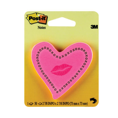 Picture of Post-it Notes Heards with Neon Lips Pink 50 Sheets 6370-HTL