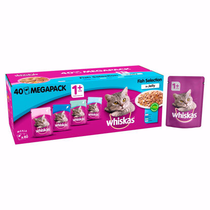 Picture of Whiskas 1 Plus Cat Pouches Fish Selection in Jelly, 100g (Pack of 40)