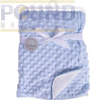 Picture of HUGS & KISSES BUBBLE MINK SHERPA BLUE BABY BLANKET