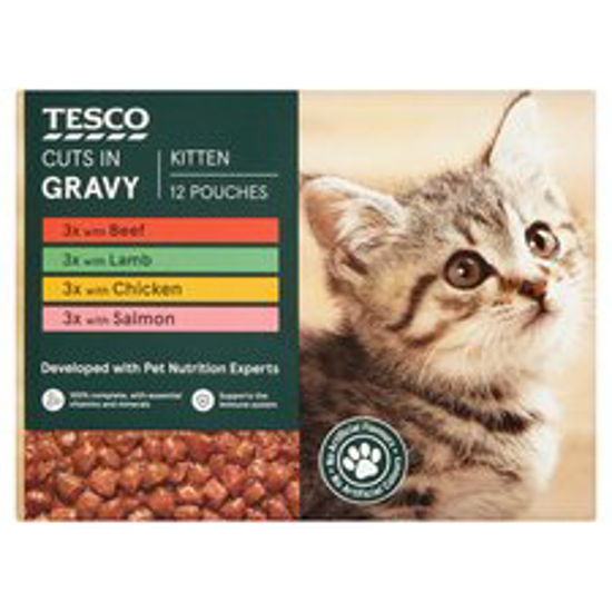 Picture of Tesco Cuts In Gravy Kitten Selection Multipack 12X100g