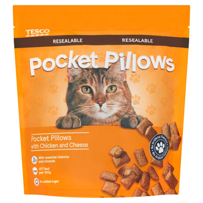Picture of Tesco Pocket Pillow Chicken & Cheese Cat Treats 250G