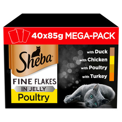 Picture of Sheba 1+ Fine Flakes Wet Cat Food for Adult Cats Poultry Collection in Jelly, 40 Pouches (40 x 85 g)