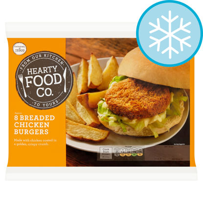 Picture of Hearty Food Co 8 Breaded Chicken Burgers 456G
