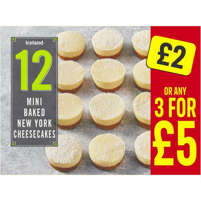 Picture of Iceland 12 Mini Baked New York Cheesecakes 268g