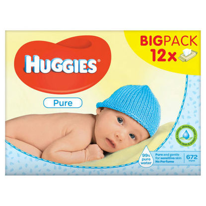 Picture of Huggies Pure Baby Wipes Fragrance Free 12 Packs X56 Wipes