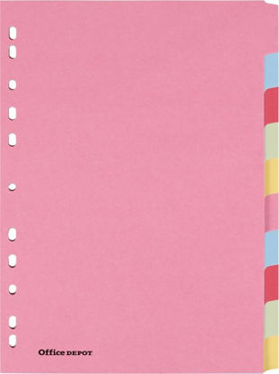 Picture of Office Depot Dividers A4 Assorted 10 Part Perforated Manila Card Blank 10 Sheets