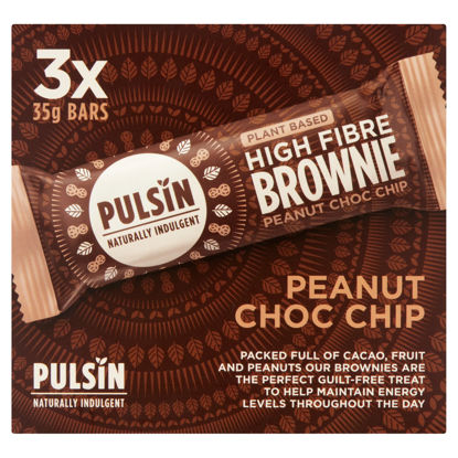 Picture of Pulsin Peanut Raw Chocolate Chip Brownie 3X35g