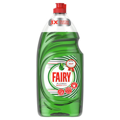 Picture of Fairy Platinum Quickwash Original Washing Up Liquid With Up To 3X Faster Tough Grease Cleaning 900ml